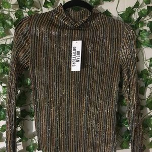 Urban Outfitters Striped Gold Metallic Top